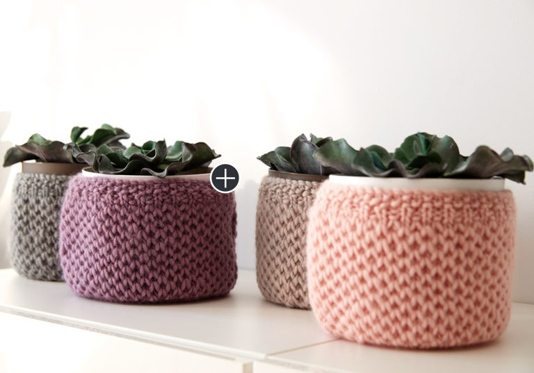 Easy Knit Plant Cozies
