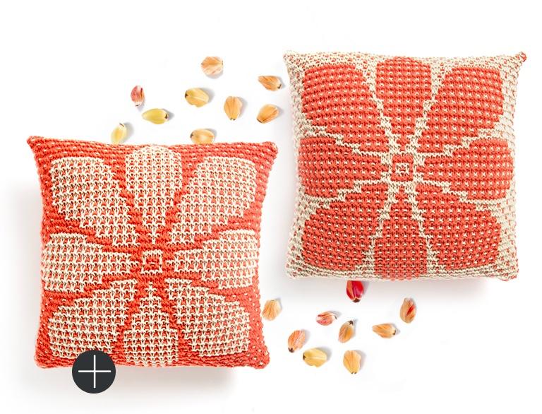 Intermediate Caron knit mosaic floral pillow