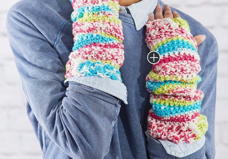 Easy Crochet Fair Isle Arm Warmers