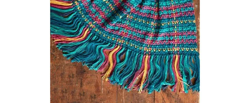 Crochet Woven Plaid Blanket in Caron Simply Soft