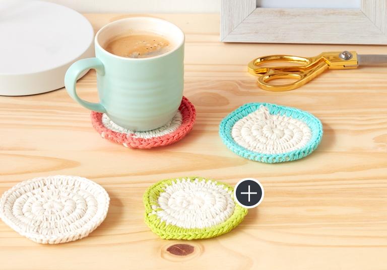 Easy Mock-Ramé Crochet Coasters Set