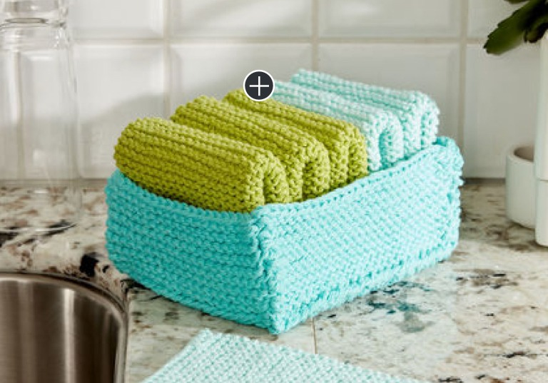 Beginner Tidy Up Knit Dishcloth and Basket