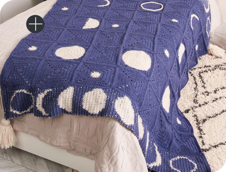 image of Red Heart Moon Shadow Crochet Blanket Blanket