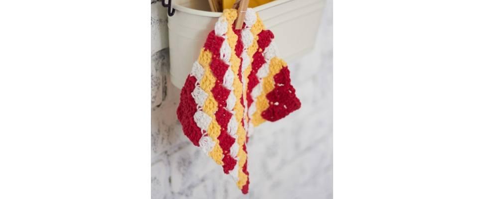 Corner to Corner Dishcloth crocheted in Lily Sugar'n Cream yarn