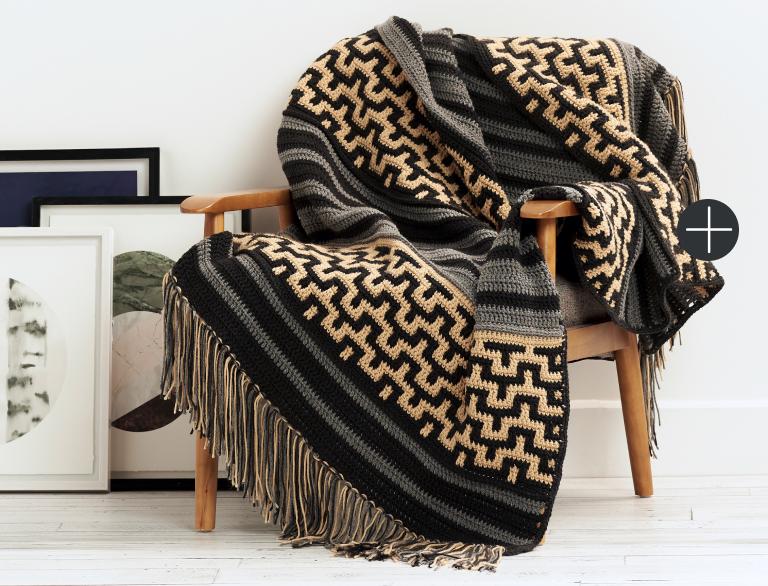 Intermediate Mosaic Stitch Crochet Blanket