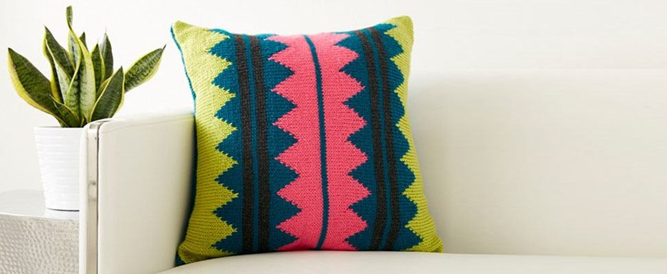In Vivid Color Pillow in Caron Simply Soft yarn