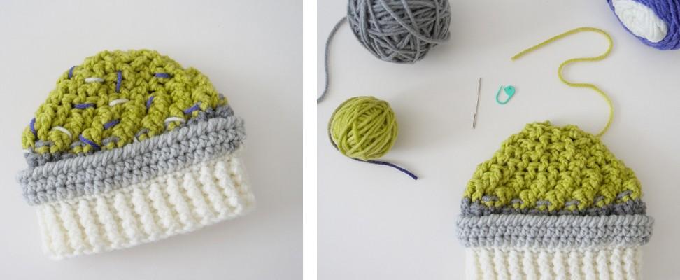 Ice Cream Swirl Crochet Hat made in Bernat Pop! yarn in Planetary