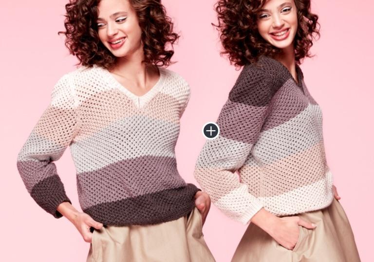 Caron x Pantone Bamboo Shaded Steps Knit V-Neck Pullover