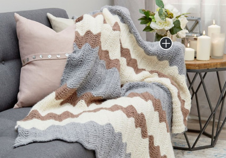 Intermediate Calming Colors Knit Chevron Throw