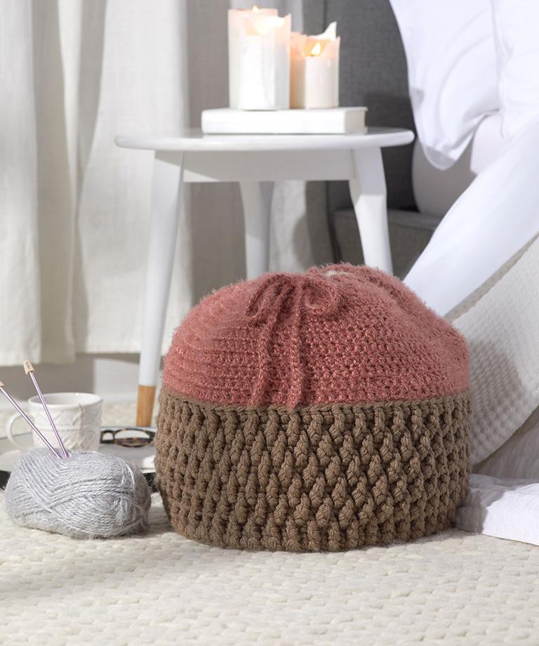 Drawstring Basket Free Crochet Pattern LW6341
