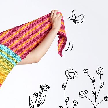 Caron crochet mitered ridges shawl