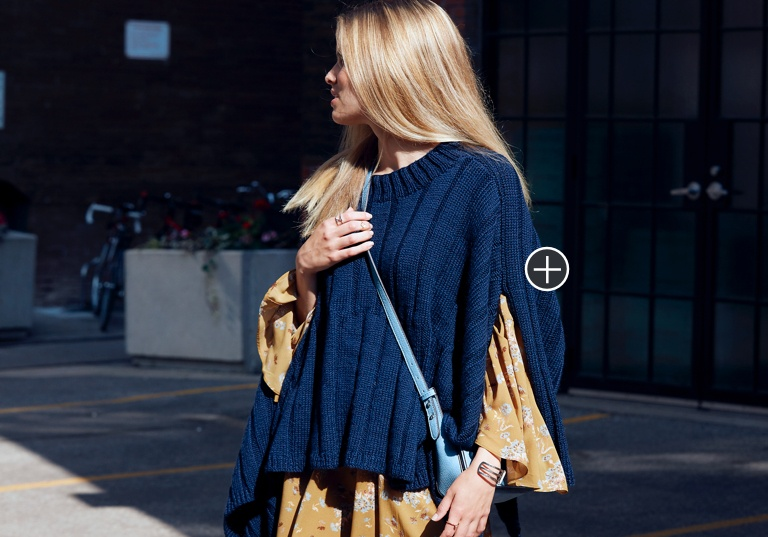 Easy Reversible Ribbed Knit Poncho