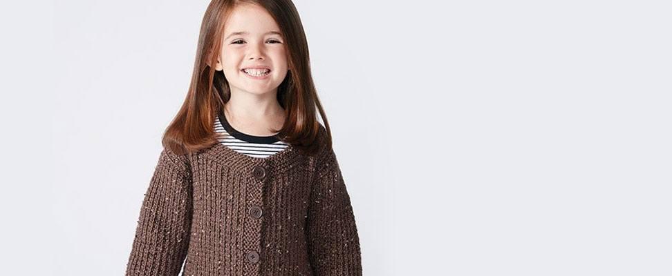 Textured Kids Cardigan in Caron  Simply Soft Tweeds