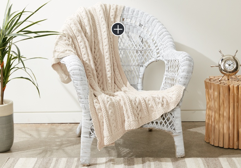 Intermediate Braided Cables Knit Throw