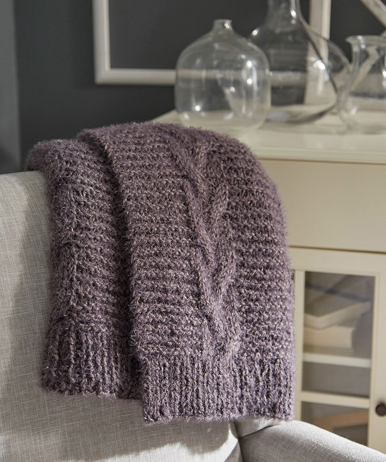 Braided Cable Knit Throw Free Knitting Pattern LW6022
