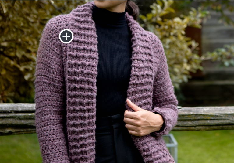 Intermediate Cozy Collar Crochet Cardigan