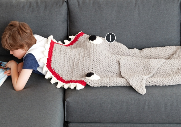Easy Fin-Tastic Shark Crochet Snuggle Sack