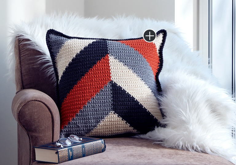 Intermediate Bold Angles Crochet Pillow
