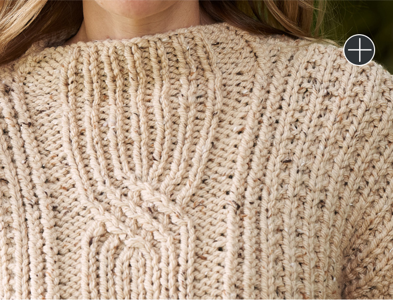 Intermediate Patons Bellwoods Textures & Cables Knit Pullover