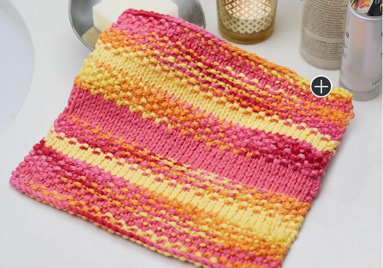 Easy Textured Stripes Knit Washcloth