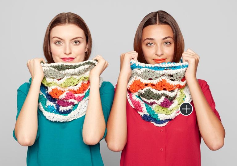 Intermediate Rainbow Chip Crochet Cowl