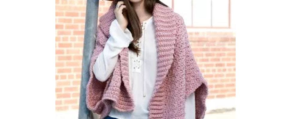 Origami Crochet Cardigan in Bernat Roving yarn