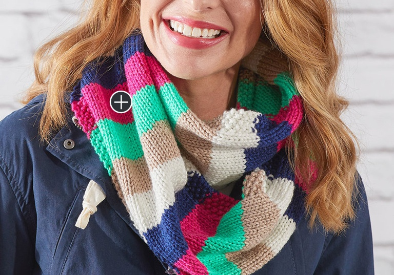 Red Heart Easy Stripes Knit Cowl   Yarnspirations