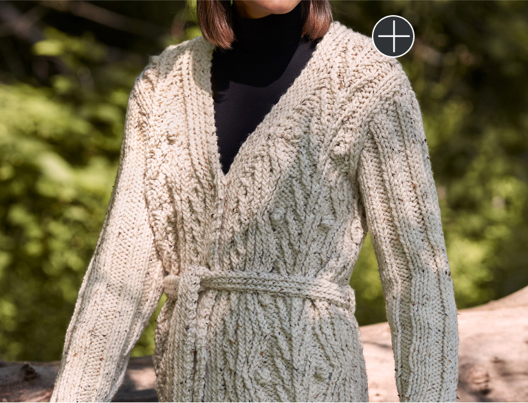 Intermediate Patons Cable Vines Montrose Knit Cardigan