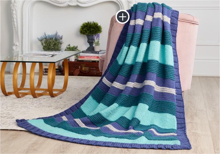 Easy Simple Stripe Knit Blanket