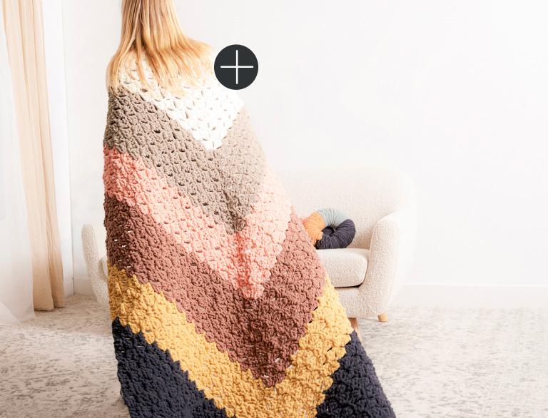 image of Bernat Giant Chevron Crochet Blanket Blanket