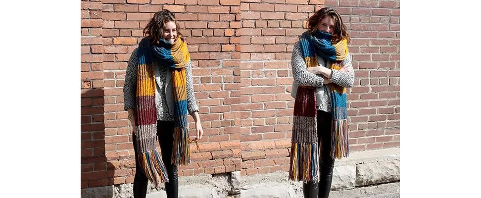 Marl Stripe Knit Super Scarf in Patons Classic Wool Worsted yarn