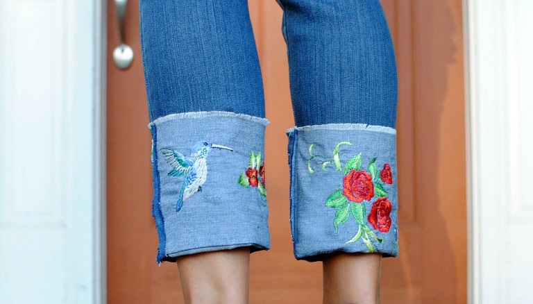 DIY: Embroidered Cuff on Jeans