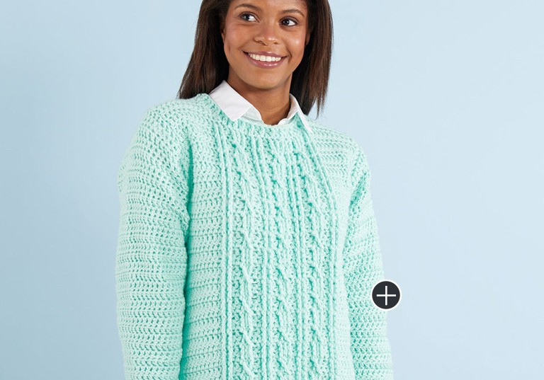 Easy Gotta Have It Cable Crochet Sweater