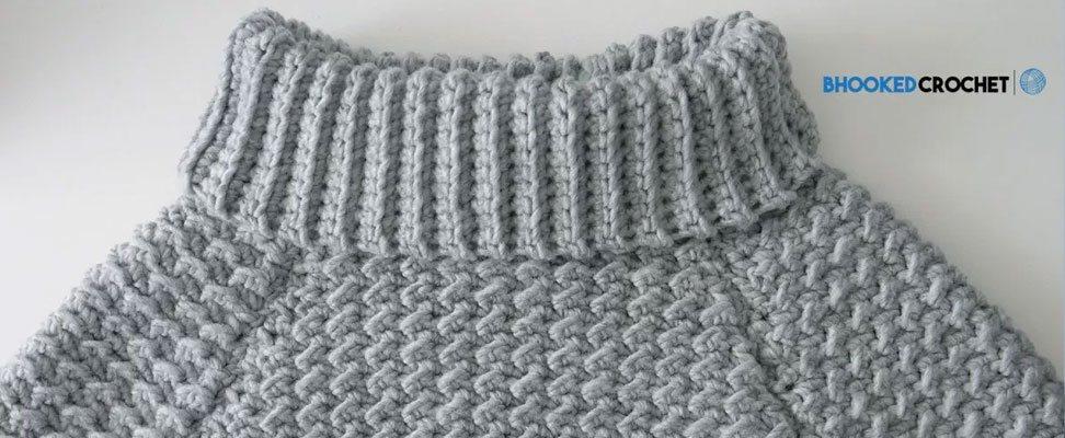 Curvy Crochet Pullover in Bernat Roving yarn