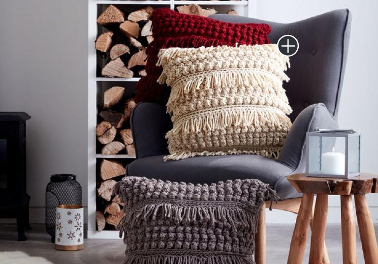 Easy Tassel and Texture Crochet Pillow