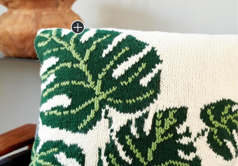 Tropical Leaf Knit Pillow