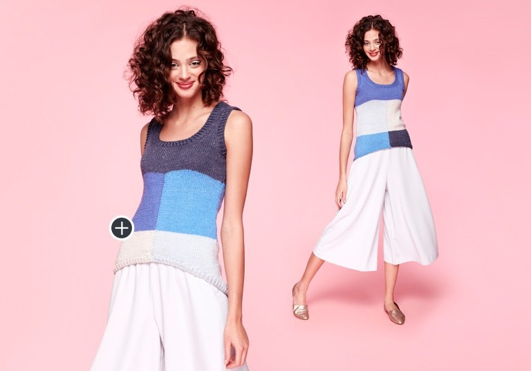 Caron x Pantone Bamboo Color Block Knit Tank