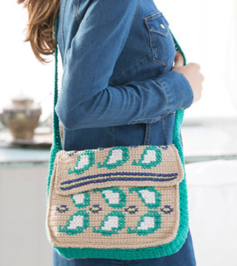 Easy Embellished Paisley Crochet Purse