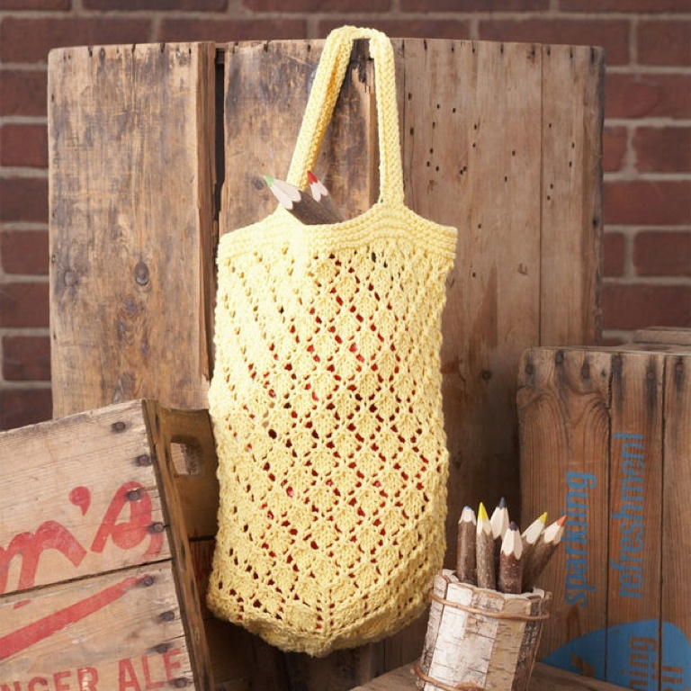 Intermediate Knit Lattice Lace Market Bag