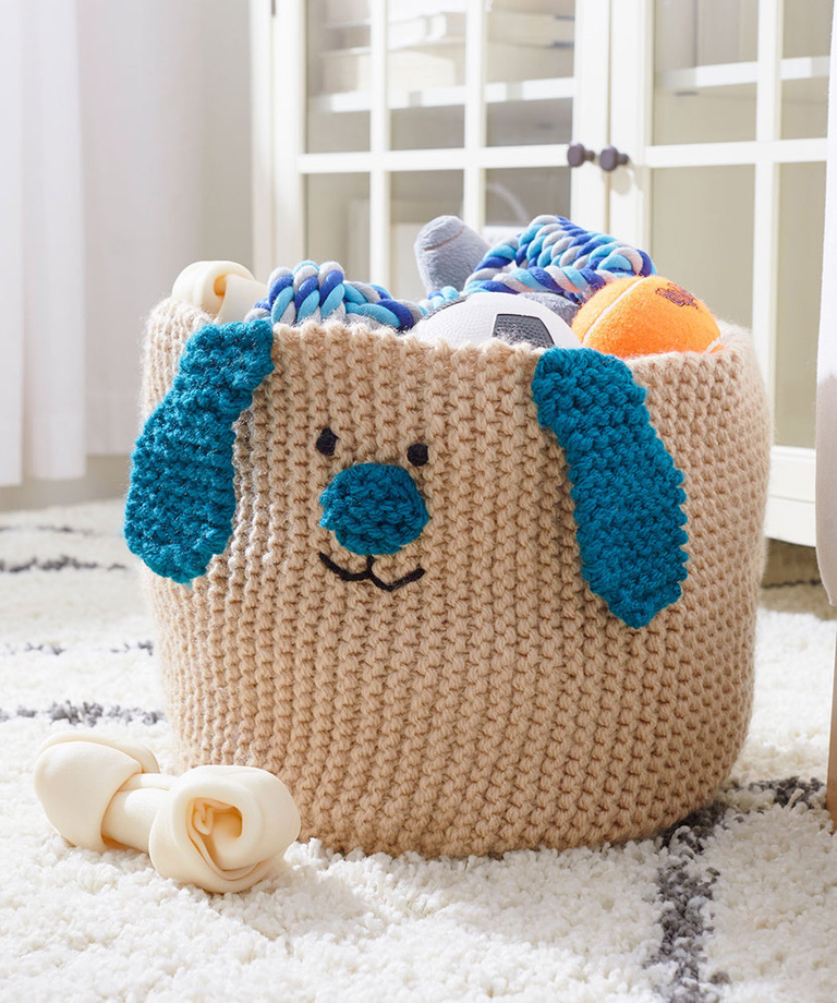 Puppy Toy Basket Free Knitting Pattern LW6145