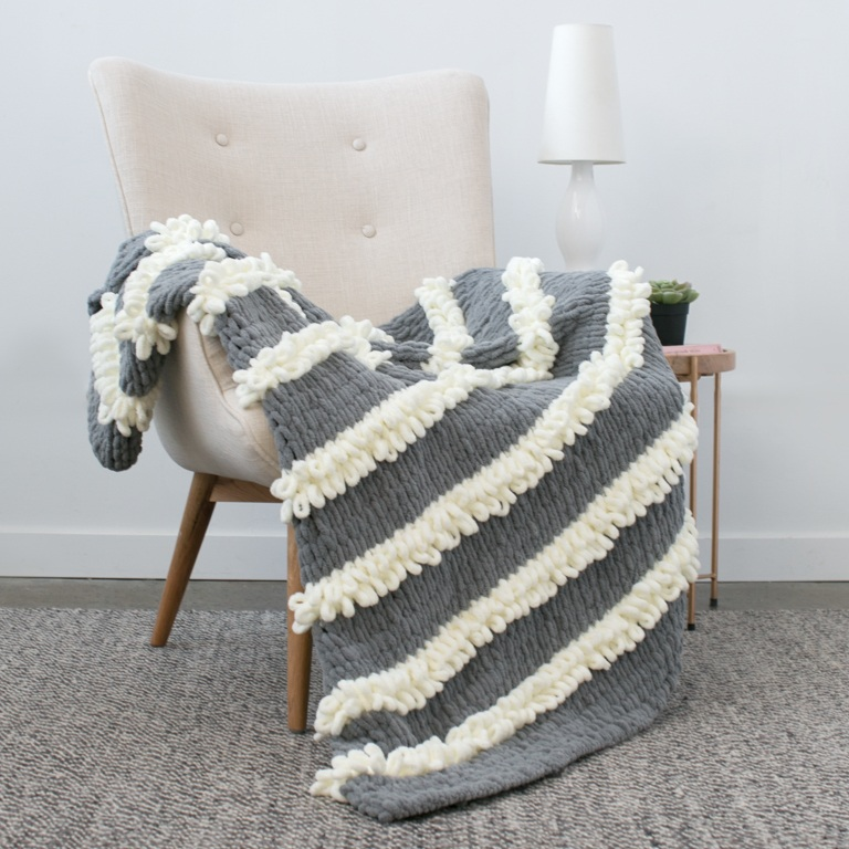 Bernat Blanket-EZ Loopy Stripe Blanket