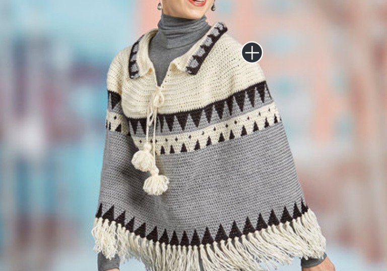 Intermediate Canyon Ridge Fringed Crochet Poncho