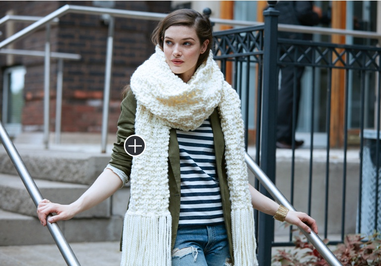 Easy Ribbed Check Knit Super Scarf