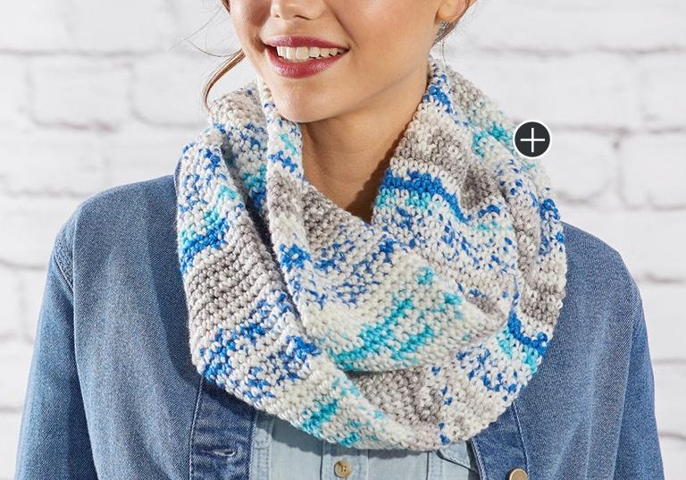Easy Faux Fair Isle Crochet Cowl