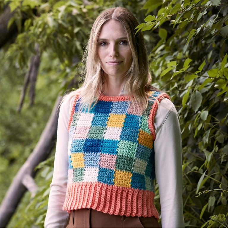 Intermediate Caron Color Block Party Crochet Vest