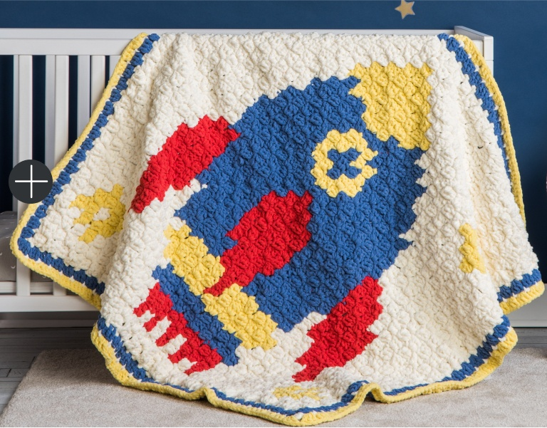 Intermediate Bernat C2C Blast Off Crochet Baby Blanket