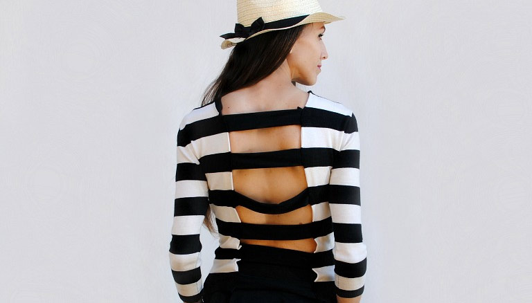 DIY Refashion: Cutout Striped Shirt