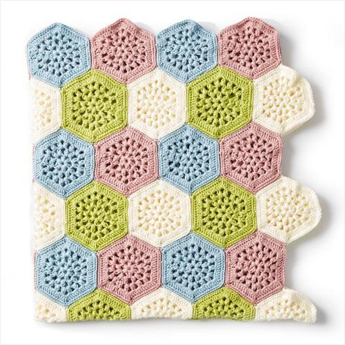 Free Crochet Pattern - Crochet Hexagon Afghan in Caron Simply Soft yarn