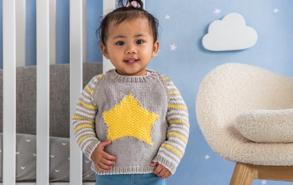 Bernat Star Knit Baby Pullover