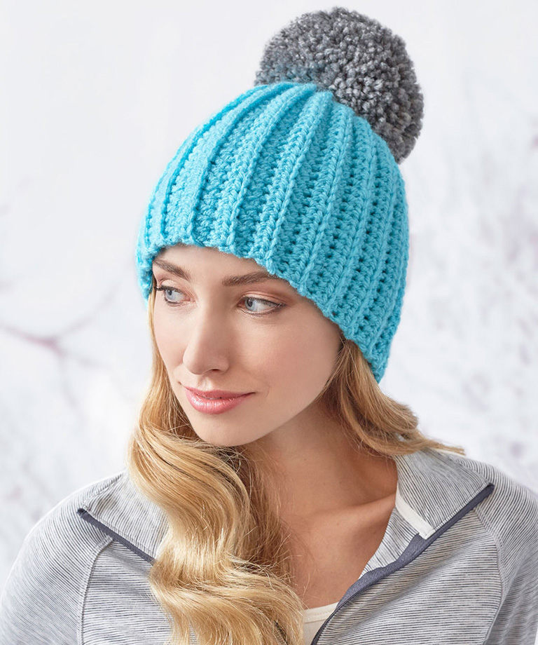 Easy-Fit Ribbed Pompom Hat Free Crochet Pattern LW5832